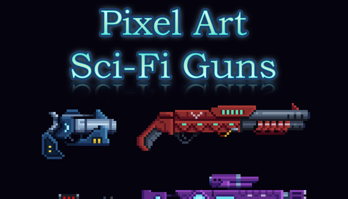 Pixel Art – Sci Fi Guns w/ Animations