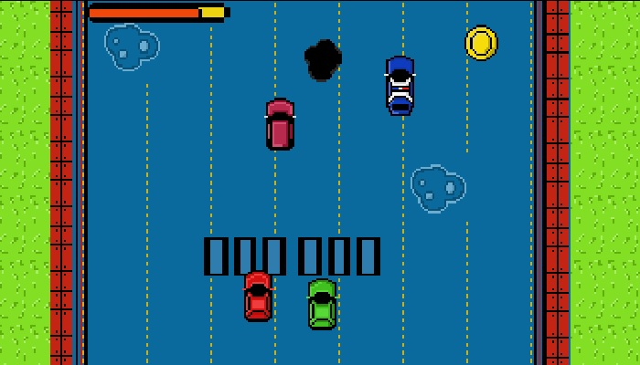 Top down pixel car game asset