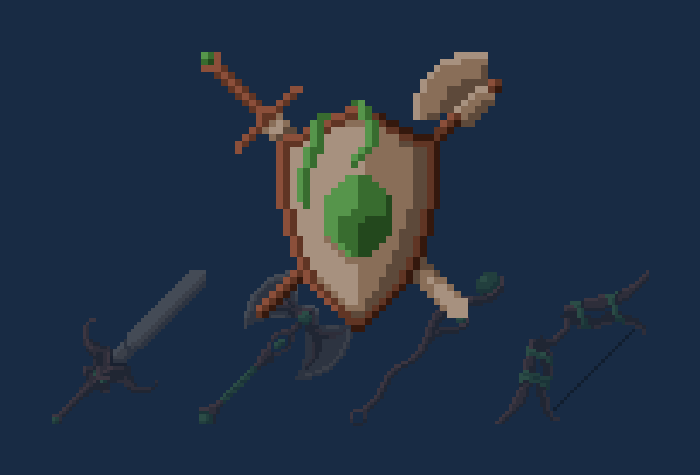 Forest Fantasy Weapons And Armor (Pixel-Art)