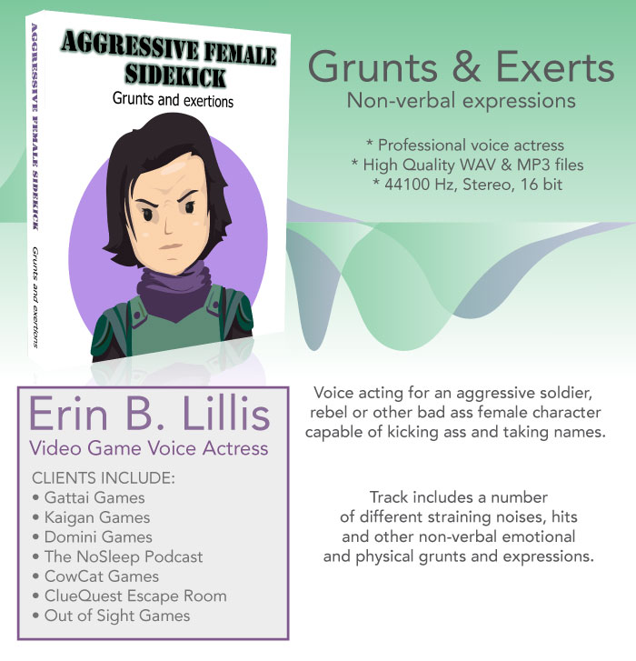 Aggressive Female – Grunts and Exertion Noises