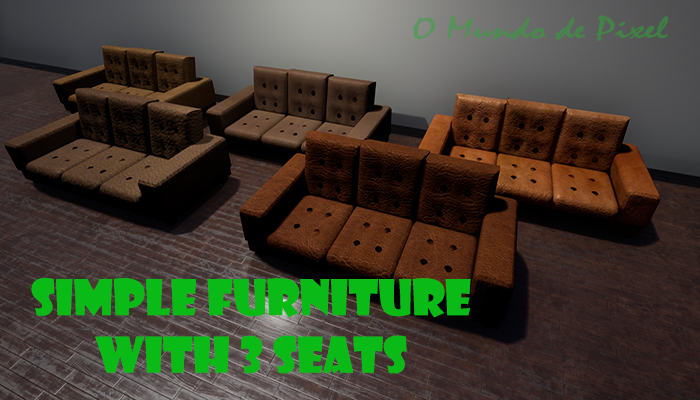 Simple furniture with 3 seats.