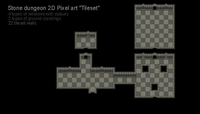 "Stone dungeon 2D Pixel art ""Tileset"""