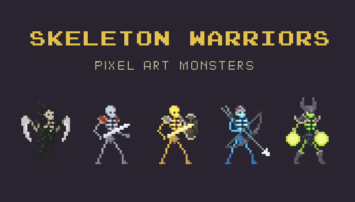 Skeleton Warriors Pixel Art Monster Asset