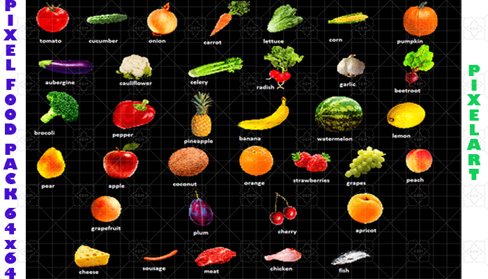 Pixelart Food Pack vegetables and fruits 35 pieces