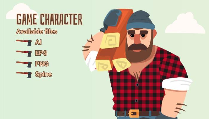 Lumberjack Spine 2D Flat Art Character