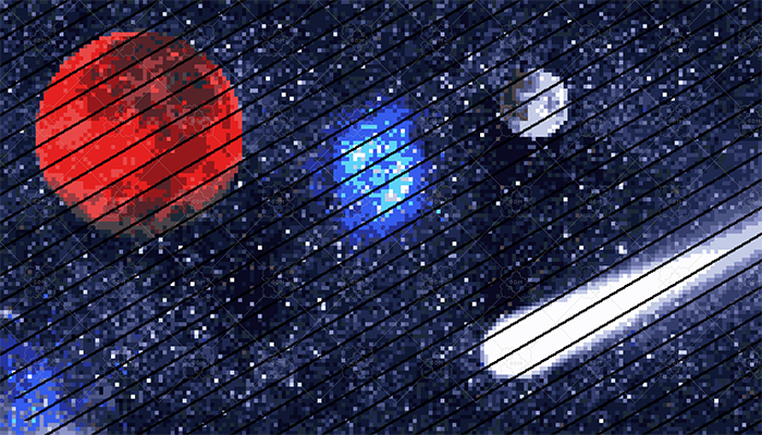 Three Pixelart Space Backgrounds