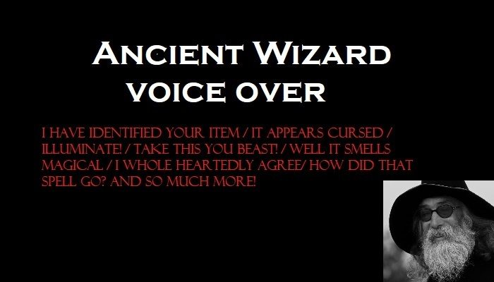 Ancient male wizard/mage voice over