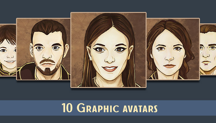 10 character avatar icons pack in graphic style