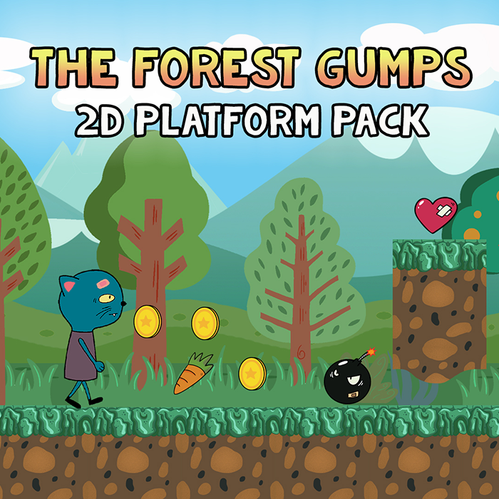 2D Platformer Game Asset – The Forest Gumps