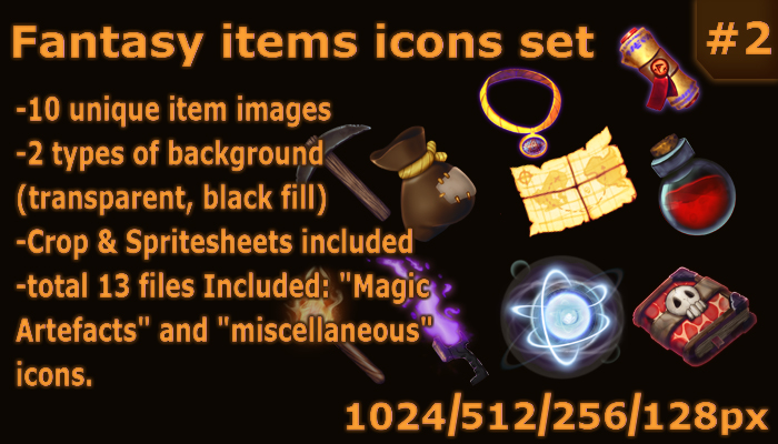 Fantasy items icons set #2