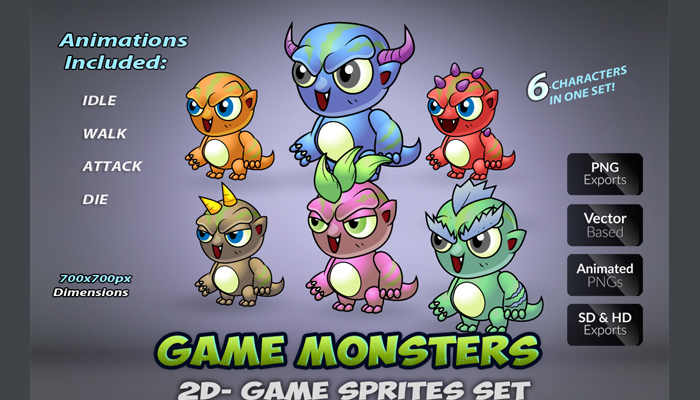 6 monster Game Enemies Character Set