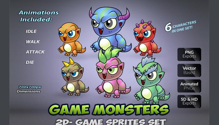 6 monster Game Enemies Character Set