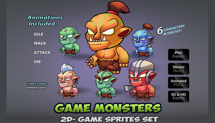 6 Orcs Game Sprites Set