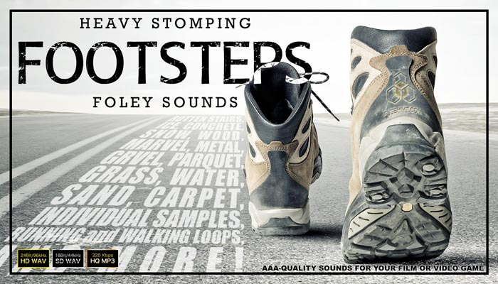 FOOTSTEPS FOLEY – Walking Running Noises on Beach Grass Gravel Snow Ice Water Sound Effects Library