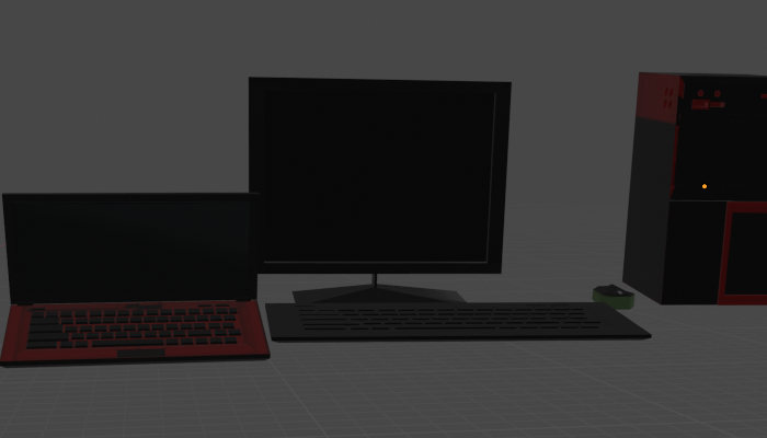 Low Poly Laptop and PC set