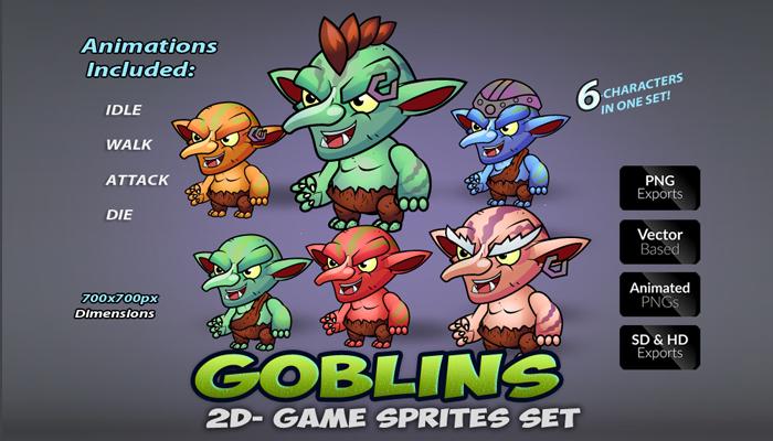 6 Goblins Game Sprites Set
