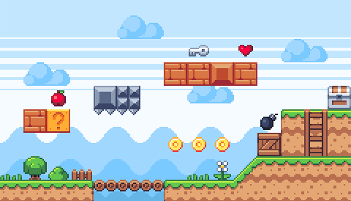 Pixel Platform Game Tileset – Cliff