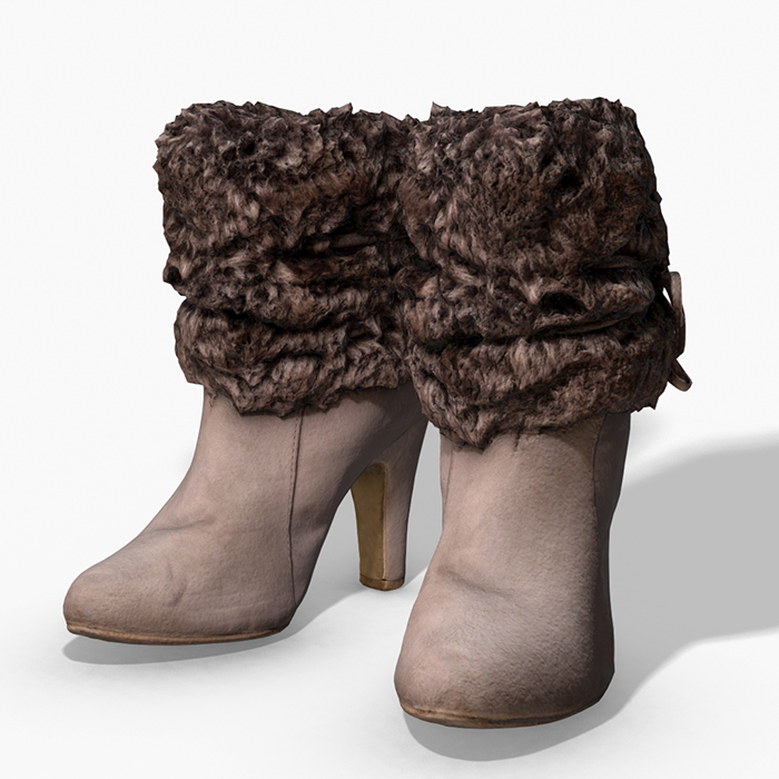 Fur Trim Heel Boots – Photoscanned PBR