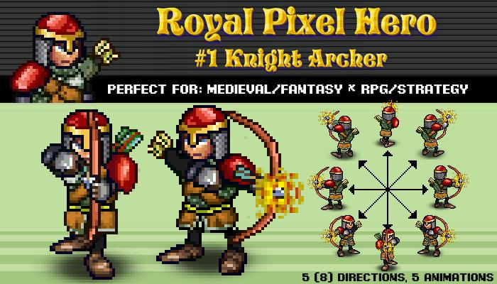 Pixel Art Hero: Knight Archer / Royal Pixel / Isometric