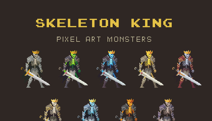 Skeleton King Pixel Art Monster Asset