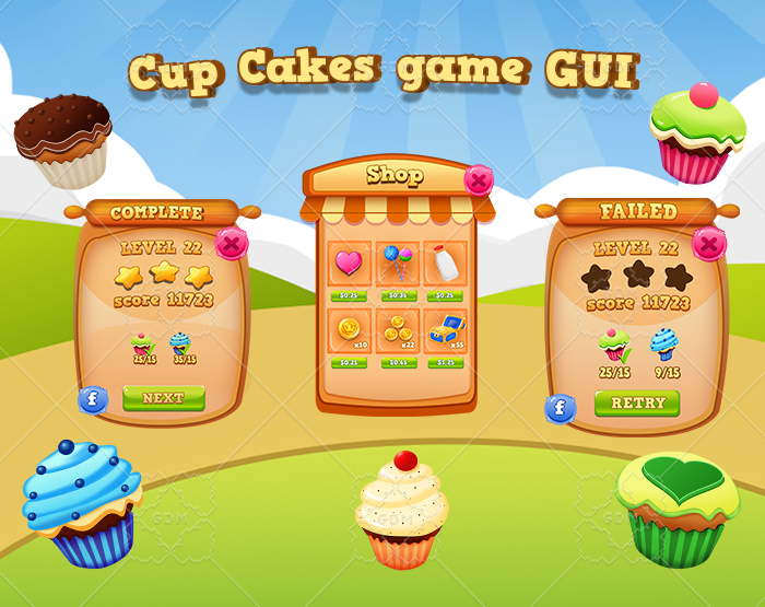 Cup cakes GUI casual game UI elements