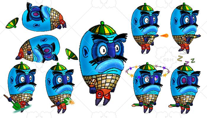 2D Spine Platformer character Catfish