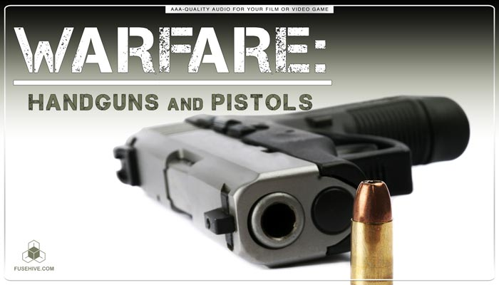 Handguns, Pistols & Guns Gunshots Sound Effects Library – Bullets Glocks Combat Warfare War MINI PACK