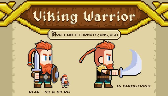 Viking Warrior – Pixel Character Spritesheet