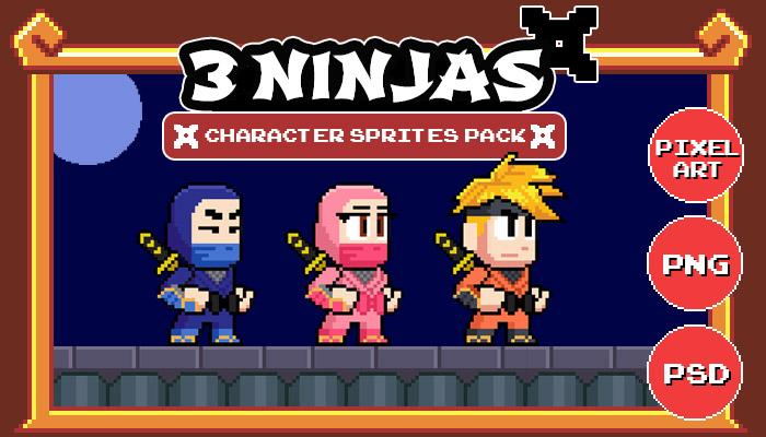 3 Ninjas – Pixel Character Sprites Pack
