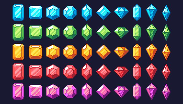 100 Gems / Jewels Pixel Arts