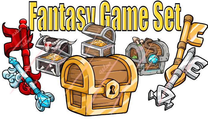Fantasy Chest and Keys Icons 15-Pack