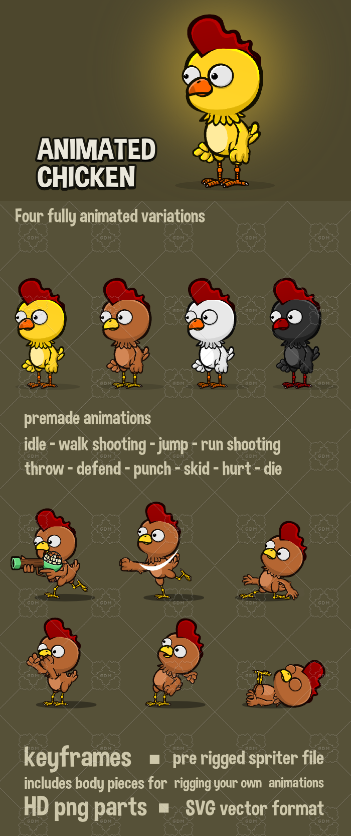 Animated chicken character