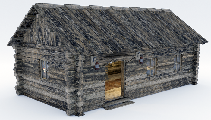 Wooden Hut With Interior