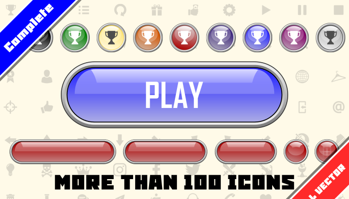GAME GUI BUTTONS – CRYSTAL