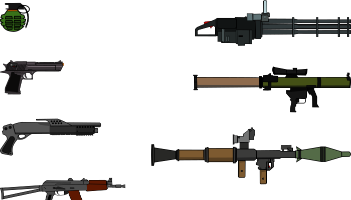 2D weapons set