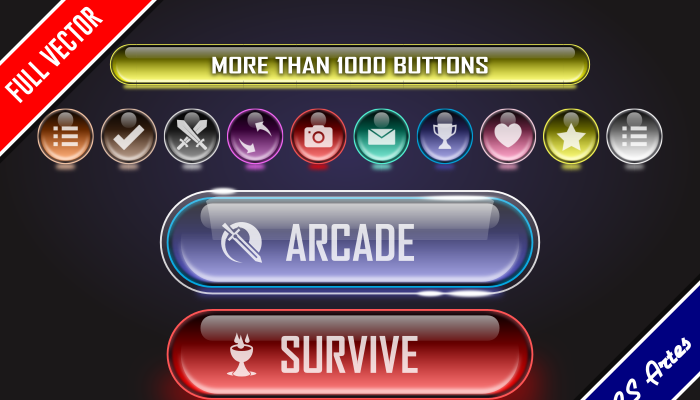GAME GUI BUTTONS – BRIGHT GLASS