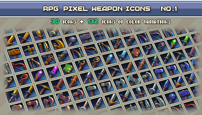 Rpg Pixel Weapon Icons #1 32×32