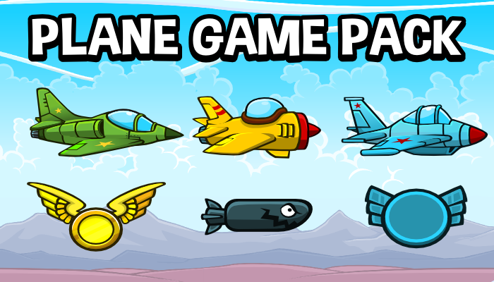 Plane game complete 2d game asset pack