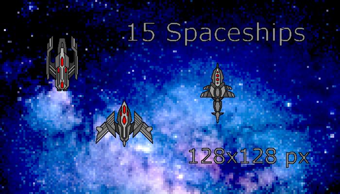 15 Pixelart Enemy Spaceships (128×128 px)