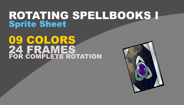 Rotating spell books in 09 different colors to fit in any game