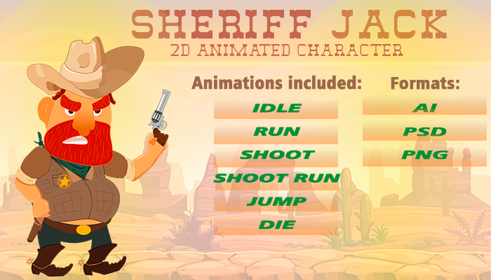 2D GAME CHARACTER – SHERIFF JACK
