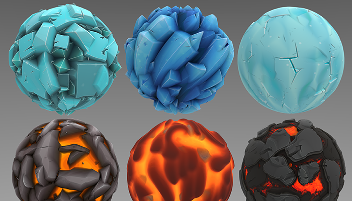 Stylized Ice and Lava Materials Vol 01