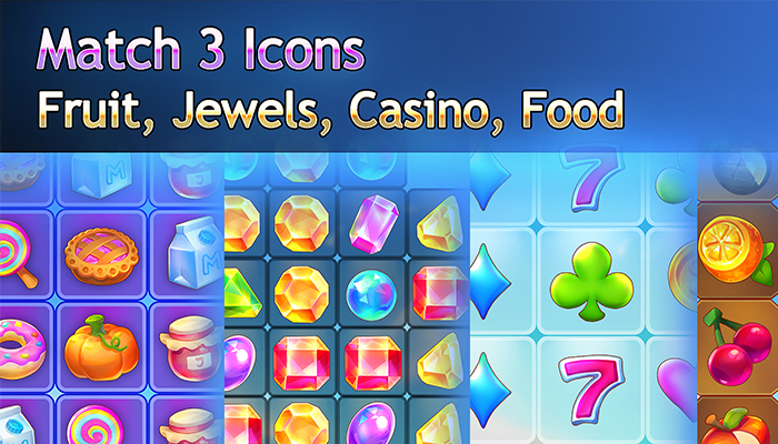 Match 3 Icons – Fruit, Jewels, Casino, Food Pack