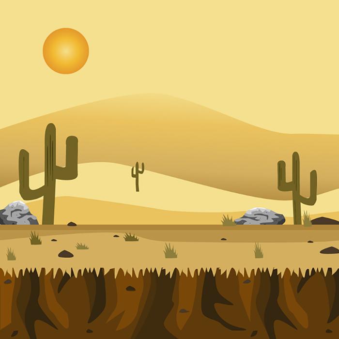 Sunset in the desert 2d background