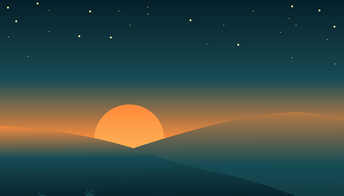 Sunset in the mountains 2d background