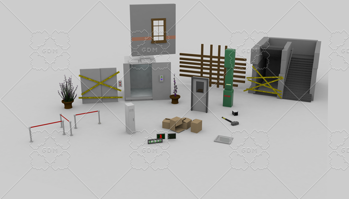 Set of low poly scenes.