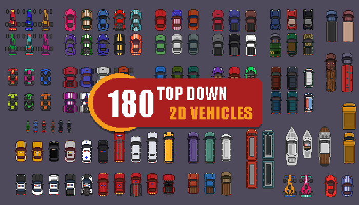 2D Top down 180 Pixel Art Vehicles