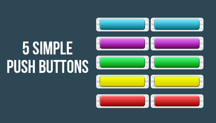 5 simple multi-colored buttons