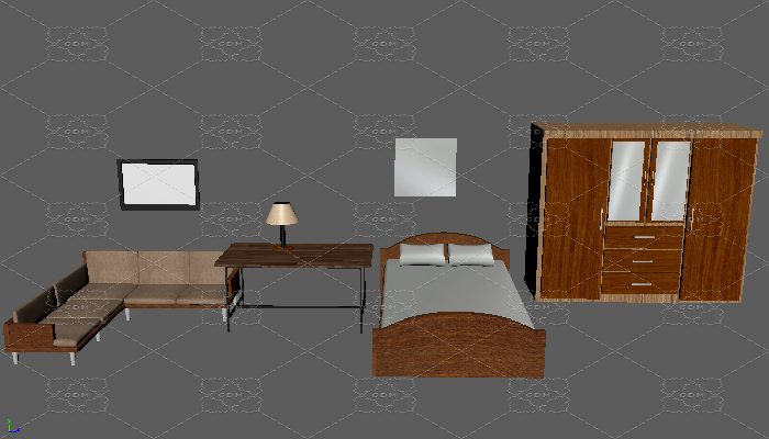 Set of low poly bedroom furniture