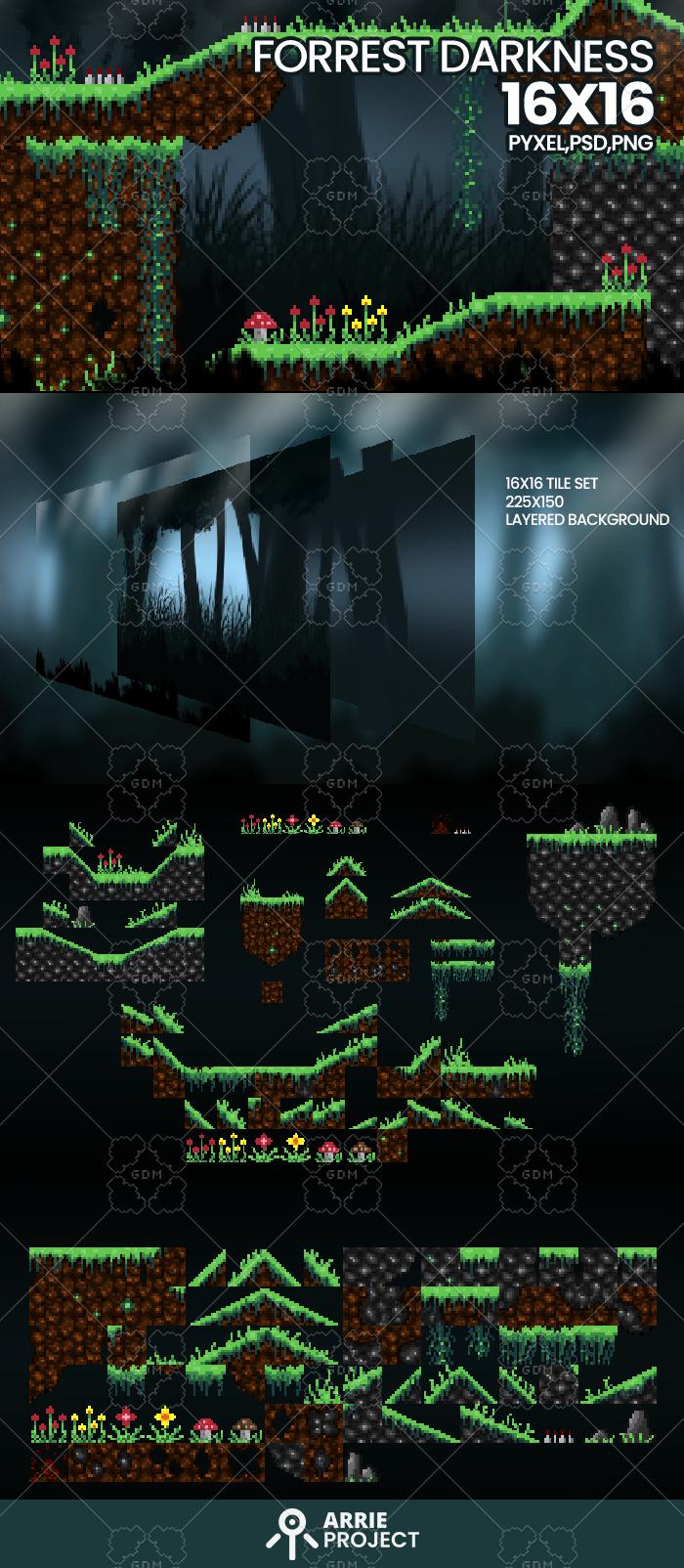 Forrest darkness background and tile set
